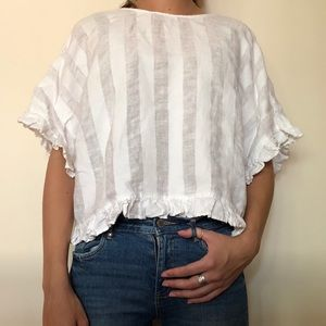 Zara white ruffle sleeve top (XS)